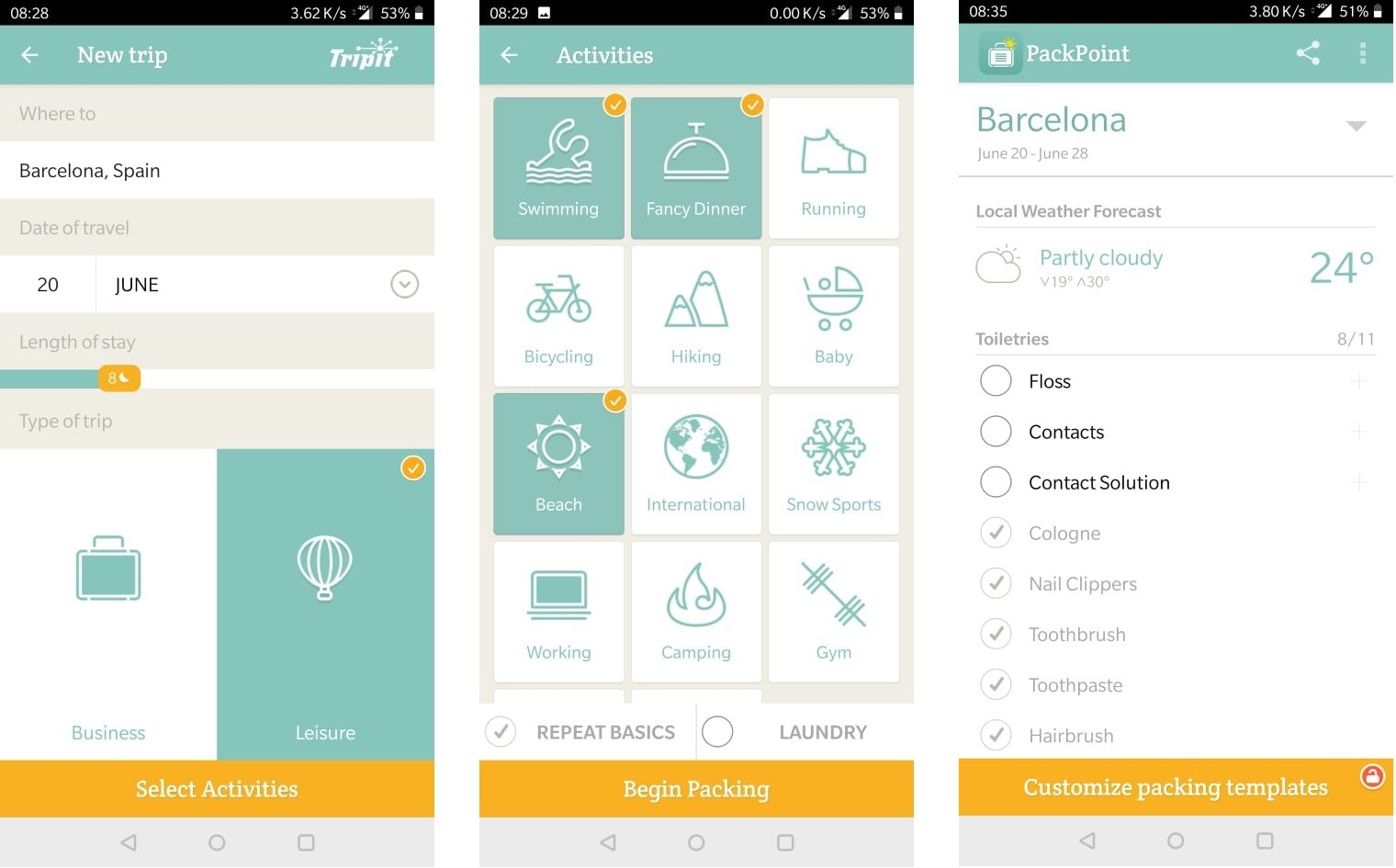 PackPoint: the travel packing list app